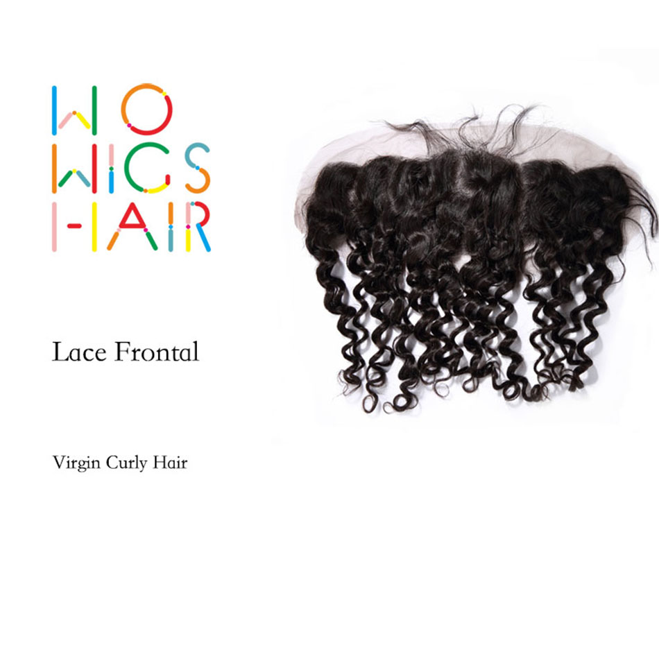 WoWigs Hair Curly Virgin Hair 13*4 Top Lace Frontal, Natural Color Human Hair Tight Curl Frontal