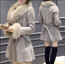 2016 winter new same as faux  fox fur collar fur coat and long sections thick warm coat jacket  for women hot sell(China (Mainland))