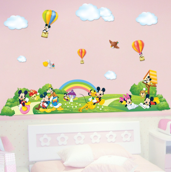 mickey mouse fairyland wall sticker baby kids room large mickey amp minnie wallsticker familien 150x55cm