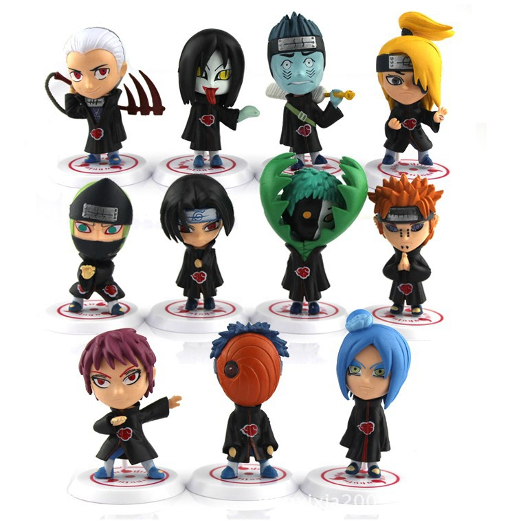6cm 11pcs/set Japanese anime Naruto action figures Akatsuki Members cute garge kits with gift box for children<br><br>Aliexpress