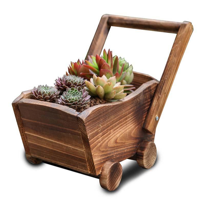 Compra carro de madera para jard n online al por mayor de for Carritos de madera para jardin