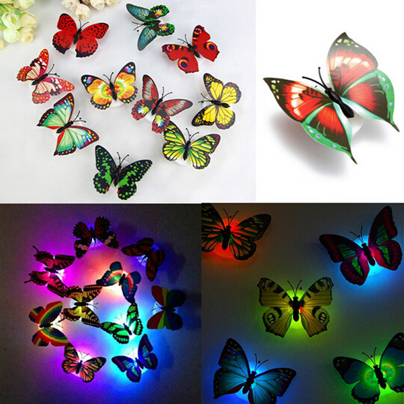 1PCS Lovely Creative Color Changing ABS Butterfly LED Night Lights Lamp Beautiful Home Decorative Wall Nightlights Random(China (Mainland))