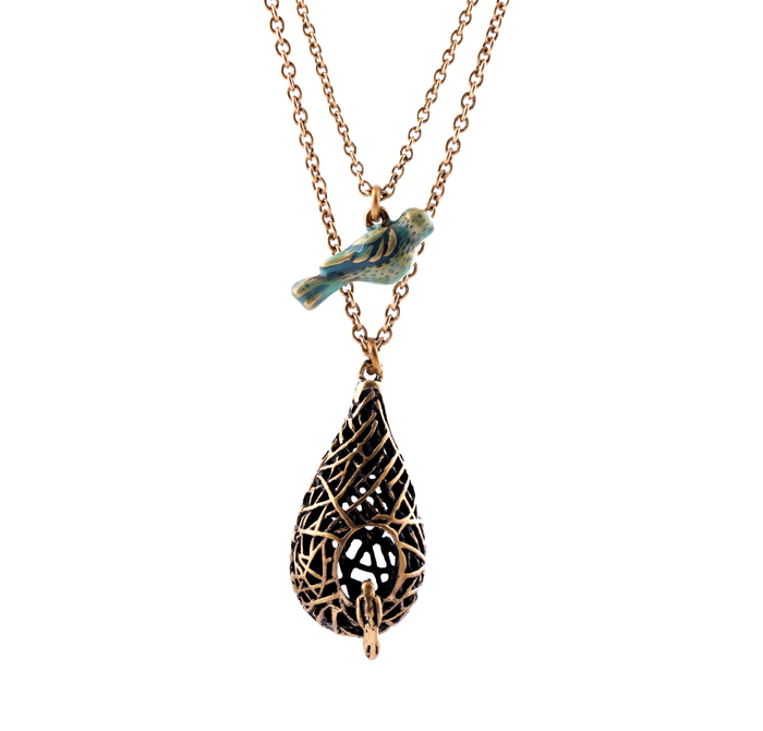 Unique Brand Jewelry Perfume Women Double Chain Bird and Bird's Nest Alloy Necklace(China (Mainland))
