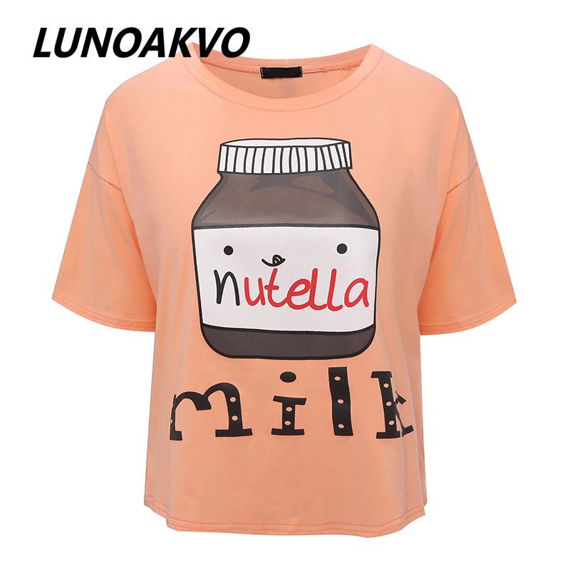 2017 Summer New Brand Nutella Milk Printed Character Women T Shirt Short Sleeve O-neck New Design Girl T Shirt Free Shipping(China (Mainland))