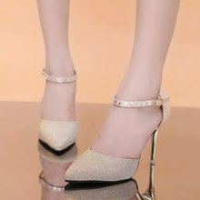 Free shipping 2016  new Europe  patent leather high heel side empty shallow mouth baotou thin strap shoes sandals with a word