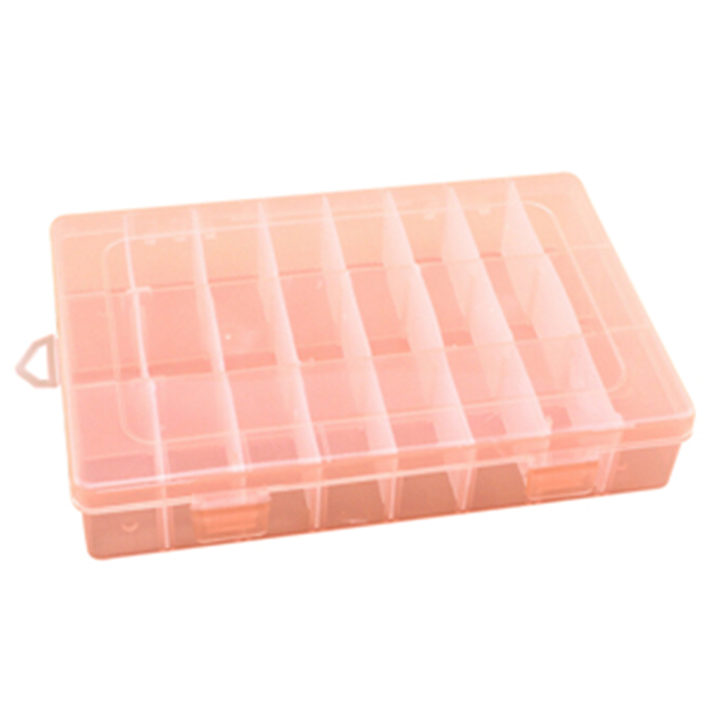 2017 New Arrival Practical Adjustable Plastic 24 Compartment Storage Box Case Bead Rings Jewelry 5 Color to Choose(China (Mainland))
