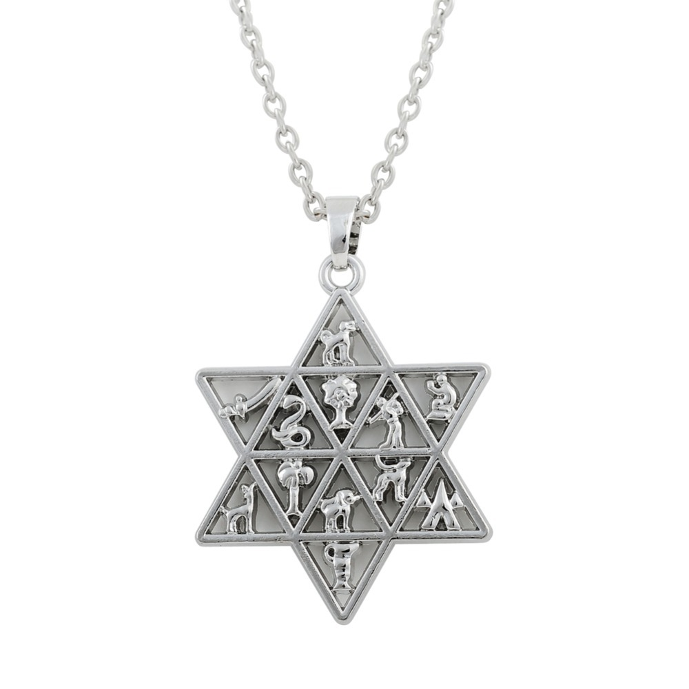 20pcs zinc alloy antique silver plated star of david with for Star of david necklace mens jewelry