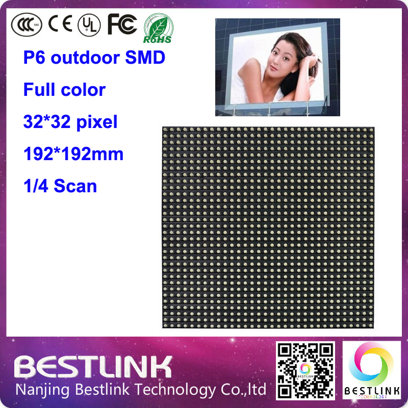 p6 outdoor full color led display screen with 32*32 pixel 4s 192*192mm SMD P6 outdoor led moduleled panel rgb led programable(China (Mainland))
