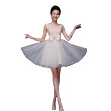 Champagne Color Tulle Bridesmaid Dresses 2016 Plus Size Vestido De Festa De Casamento Slim One Shoulder Wedding Short Dress BV04(China (Mainland))