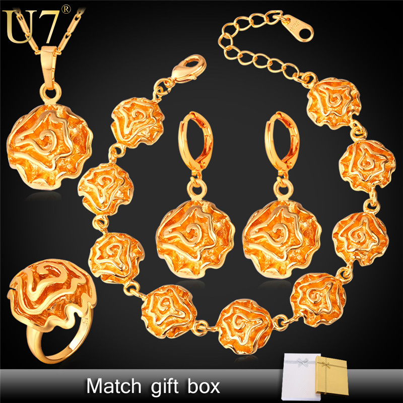Dubai Gold Plated Jewelry Sets For Women 18K Gold/Platinum Plated Flower African Costume Jewelry Set Wedding For Brides S388