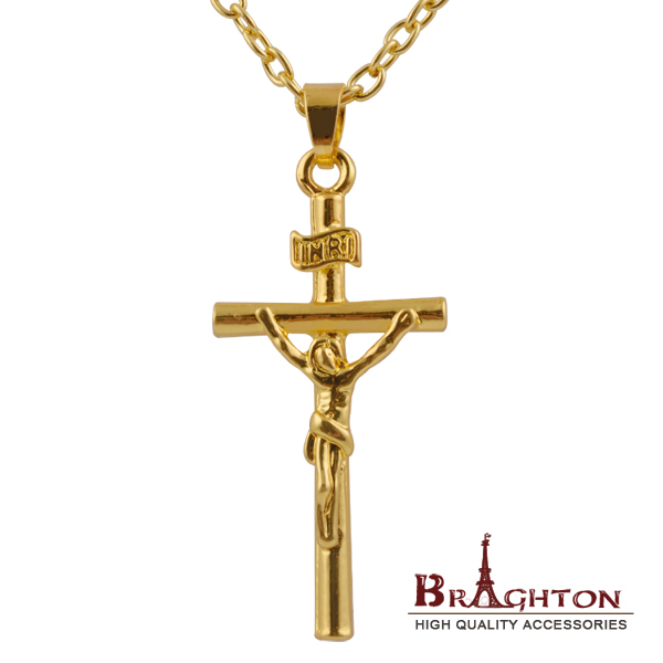 1PCS Jesus Cross Necklace 18K Real Gold Plated INRI Pendant For Men Jewelry Fashion Religious Jewelry Crucifix Necklace 2015(China (Mainland))