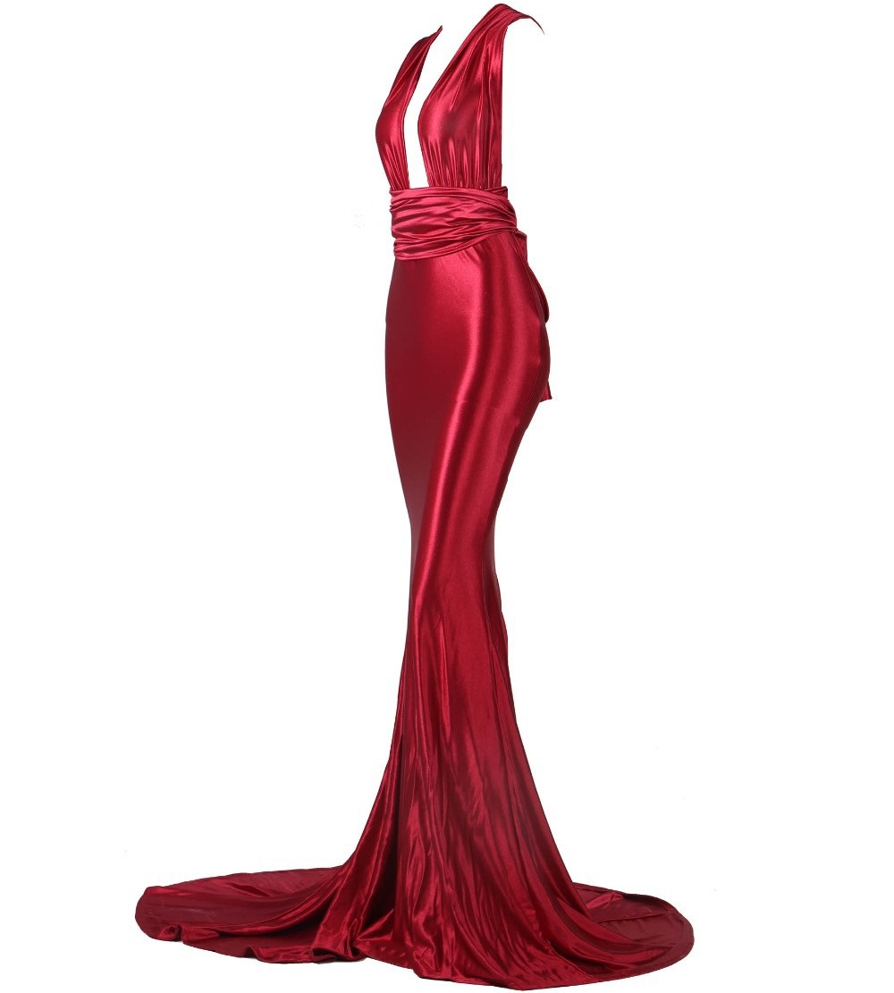 Red Evening Long Gown Formal Ball Dress Mermaid Fitted Curves Cross Back Sexy Skin Tight(Hong Kong)