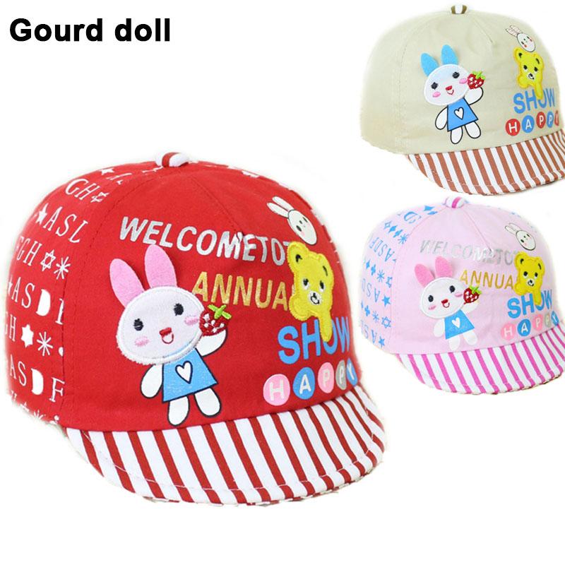 3 colors Baby Girls Boys Hat with Star Cartoon Rabbit Kids Baseball Hat Summer Spring Sun Hats for baby boys girls(China (Mainland))