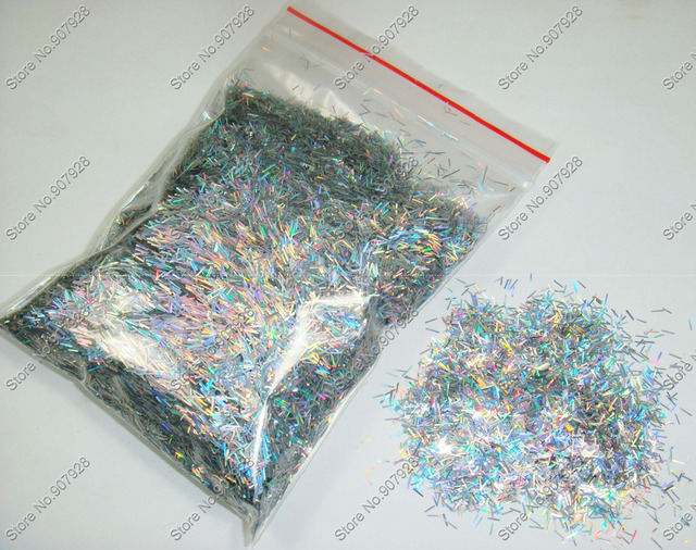 50g/bag Laser Holographic Silver Color Shining Nail Glitter Strips Powder for DIY Nail Art Decoration and Glitter Crafts