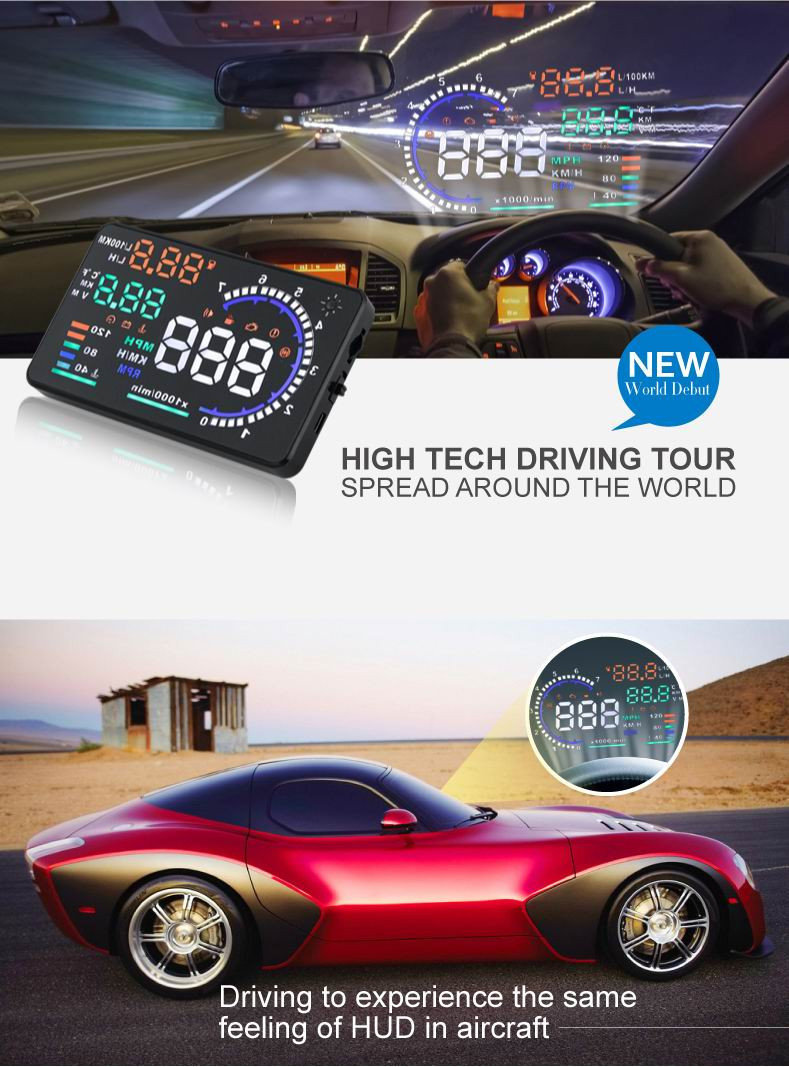 "Universal 5.5"" Screen A8  Car HUD Head Up Display KM/h & MPH Overspeed Warning Windshield Project Alarm System OBD2 Interface"
