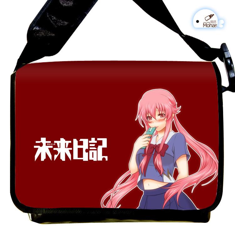 Free Shipping  Future Diary Canvas Bag Mirai Nikki Gasai Yuno Cosplay Messenger Bags Student Cartoon Schoolbag