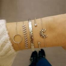 21 Style femmes mode lune feuille Shell croix cristal géométrie Bracelet ensemble Boho Vintage plage bijoux accessoires amoureux cadeaux(China)