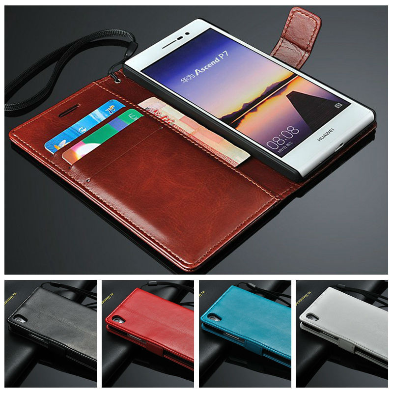 Vintage Wallet Leather Case Huawei Ascend P7 Flip Cover Card Slots Stand Protective Phone Bag - Lovely Boutique For Your store