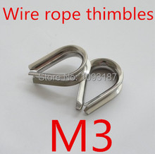 50pcs/lot M3 Stainless Steel Wire Rope Cable Thimble Galvanized For WireRope Cable(China (Mainland))