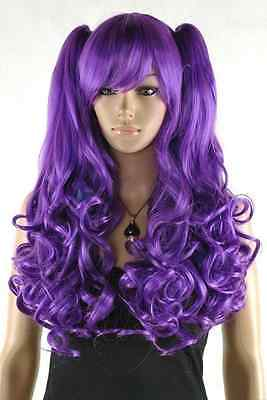 gothic long curly wave purple cosplay party wig with ponytails +Cap<br><br>Aliexpress