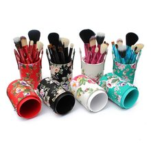 Fashion 12PCS Pro Makeup Brushes Set Eyeshadow Powder Blusher Brush Beauty Cosmetic Tools Kit With Holder Cup Case Free Shipping