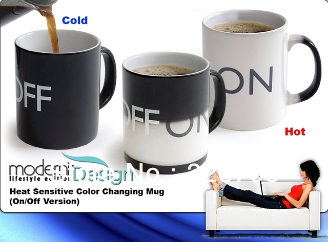 Free shipping New Funky Color Changing ON/ OFF Switch High-Grade Porcelain Coffee Mug Cup Ceramic cup office mug Novelty Gift
