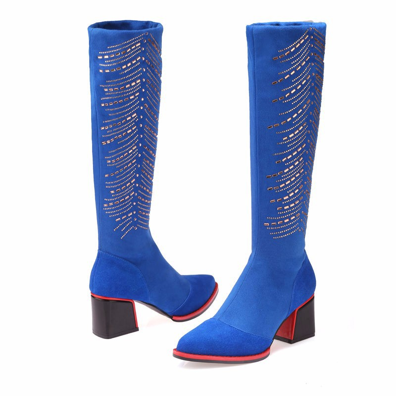 Winter Women Knee High Boots Sexy Ladies Genuine Leather Thick Heels