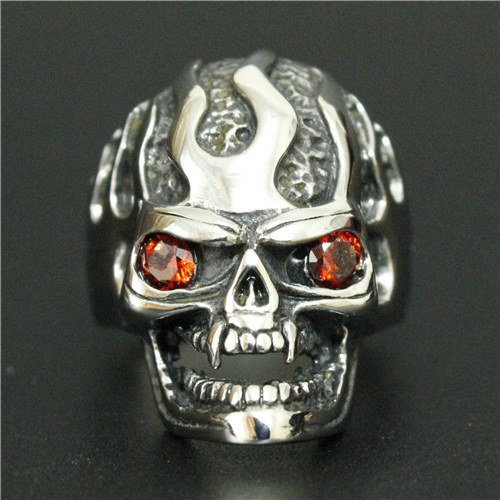 Cool Design Red Eyes Ghost Skull Biker Ring 316L Stainless Steel Men Boys Polishing Biker Ring(China (Mainland))