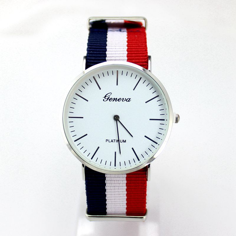 2015 New Fashion Brand Women Wristwatch Colorful Woven Leather Casual Watch Geneva Platinum Case Analog Quartz Watch Women Hours<br><br>Aliexpress