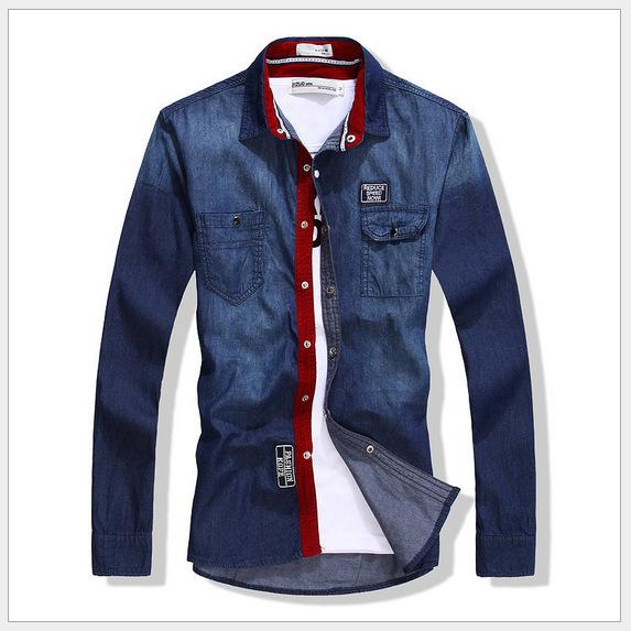 Free Shipping 2015 Hot Men Jeans Shirt Men's dress Casual Shirts Slim Fit camisas Stylish long-sleeved Size:M-XXXL 8811xMEI(China (Mainland))