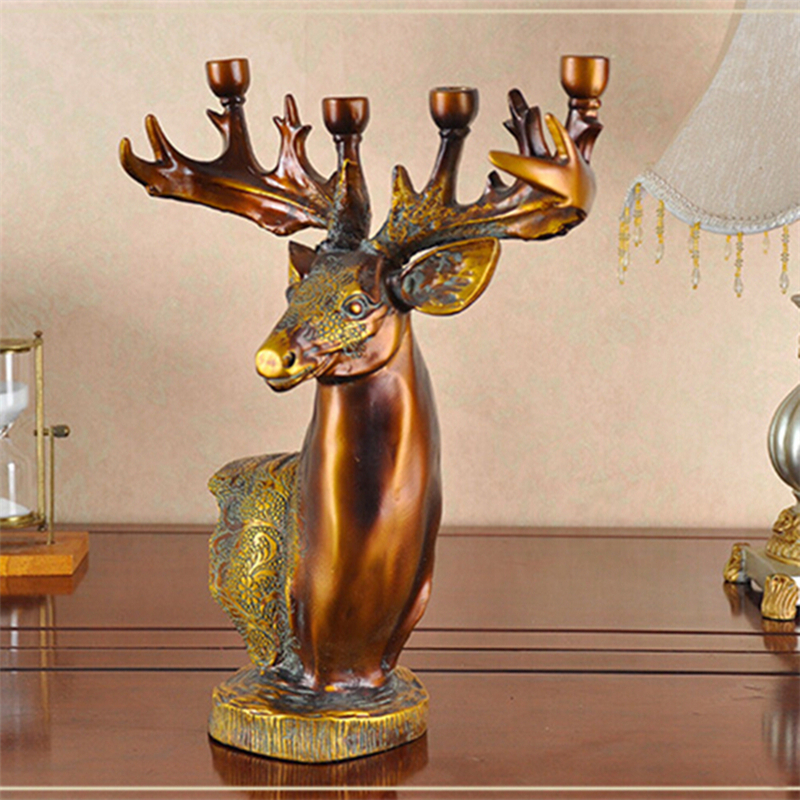 Free shipping Luxurious decorative candle holder, deer head style 4-candle base holder European candlestick(China (Mainland))