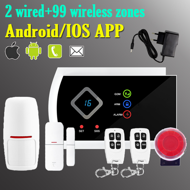 Support APP Control Wireless GSM SMS Alarm System for Home Security Burglar intruder Alarm Systems(China (Mainland))