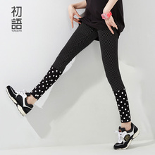 Toyouth 2016 Women Leggings Pantalones Polka Dot Print Leggings Casual Style Soft To Skin Material Fitness Women Skinny Leggings(China (Mainland))