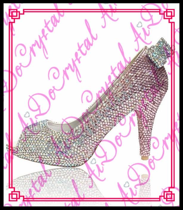 ซื้อ Aidocrystalแฮนด์เมดผีเสื้อแบบคริสตัลrhinestoneส้นรองเท้าส้นสูงปั๊มงานแต่งงานพรหมครบรอบ