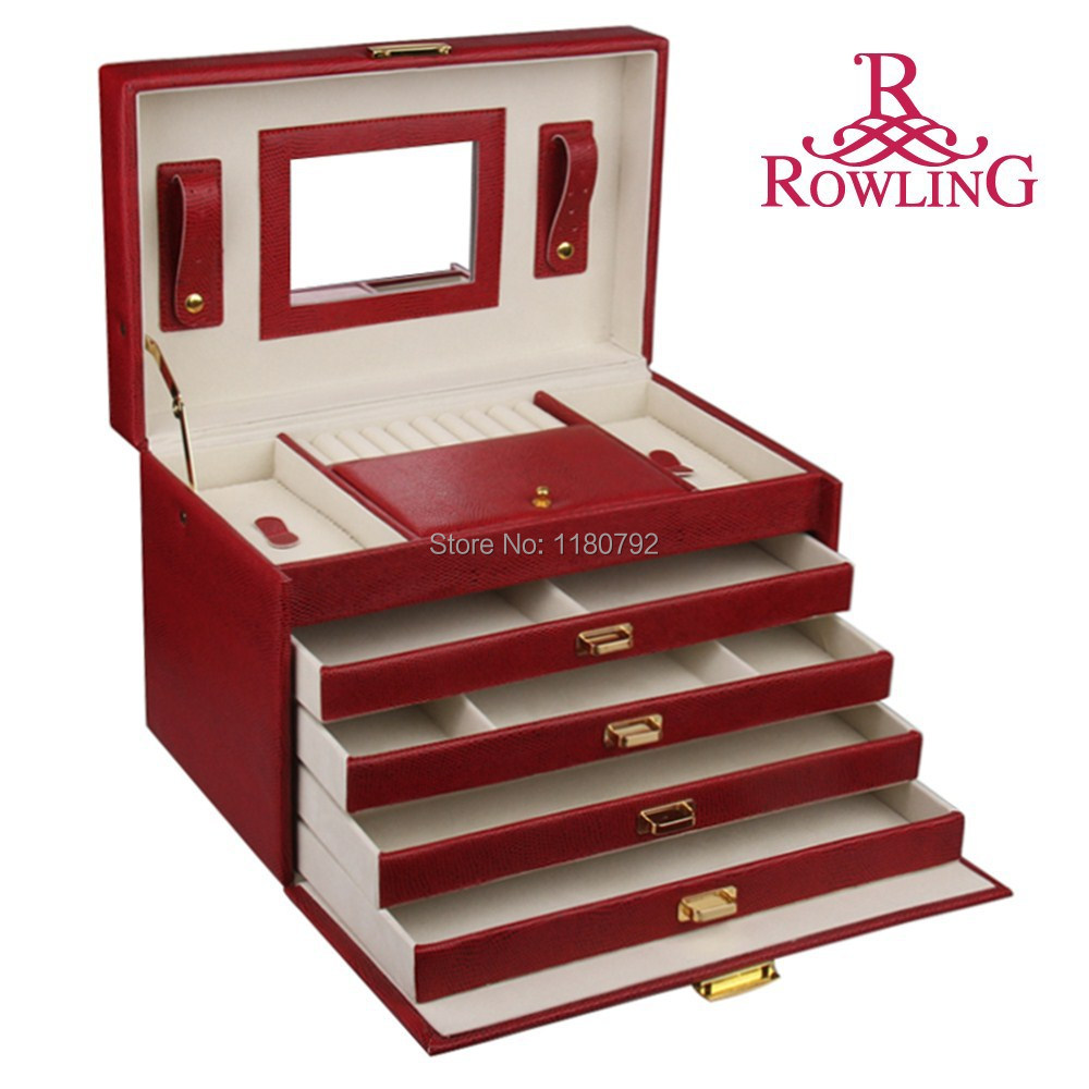 [ROWLING] Extra Large Red Jewelry Box Earring Ring Bracelet Pedants Pins Storage Box Cabinet Armoire ZG106(China (Mainland))
