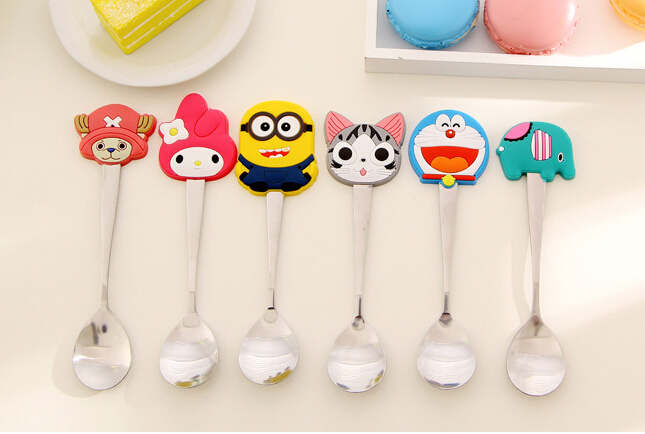Cute Cartoon Stainless Steel Tea Coffee Spoon Kitchen Kids Tableware talheres cocina colher cucharas aparelho de jantar