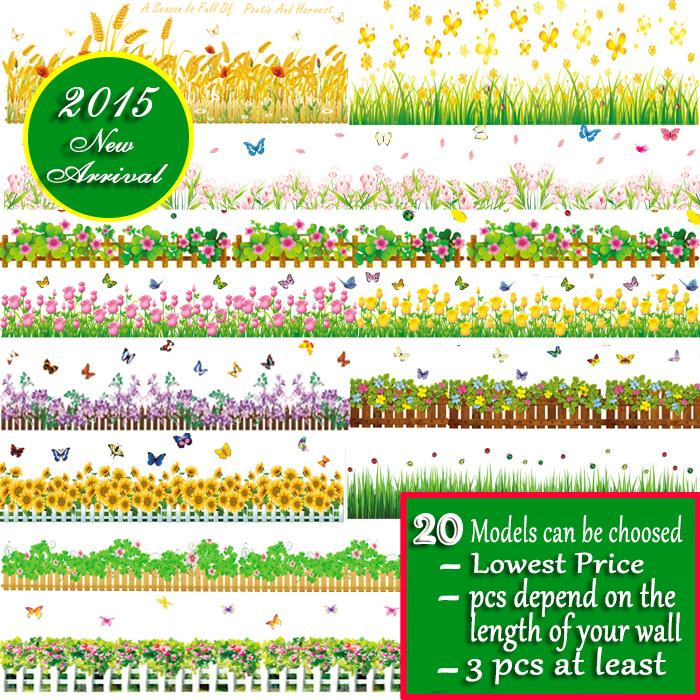 20 Models Flower and Plants Skirting Line Wall Stickers Home/Room Wedding Decals Dorm Decoration Removeable Waist WallPapers(China (Mainland))