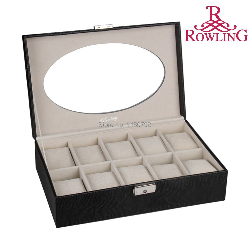 [ROWLING] BLACK LIZARD 10 Slots Watch Display Case Jewelry Box Storage Faux Leather BG038(China (Mainland))