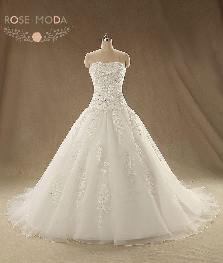 Pearl Beaded Soft Sweetheart Neckline Lace Corset Drop Waist Full Line Wedding Dress