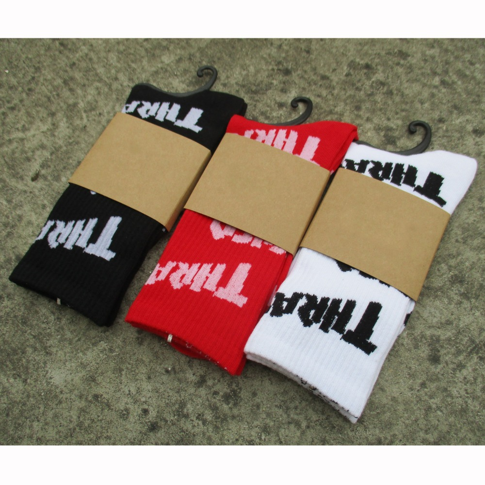 New THRASHER Letter skateboard sports socks summer style retro harajuku male half socks men meias 350
