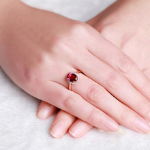 Elegant Trendy 18K Rose Gold Plated Jewelry Ring High Quality Red Cubic Zirconia Diamond Ruby Wedding