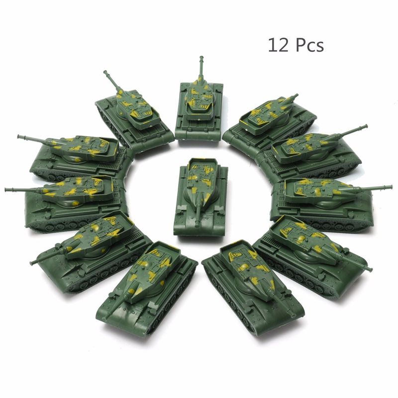 12Pcs Military Tank Model Rotating Turret Plastic Toy Soldier Army Men Accessory For Sandbox(China (Mainland))