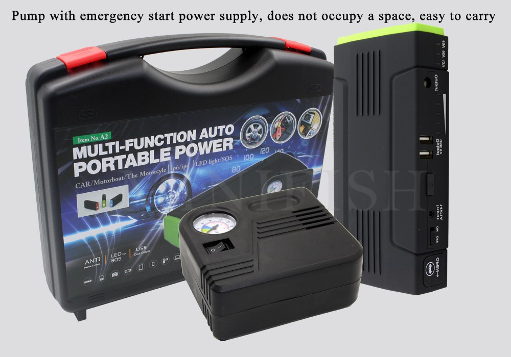 12V Multi-Function Car Jump Starter Mobile phone Power Bank Laptop External Rechargeable Battery with electric air pump(China (Mainland))