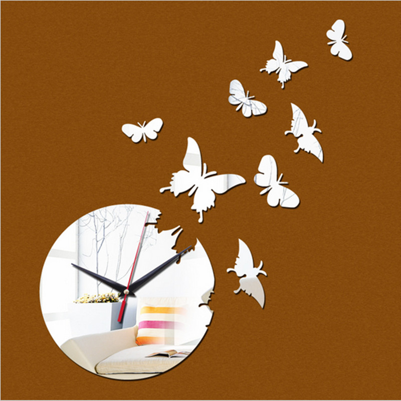 Time limited Quartz 8 butterfly 3d Roman Numerals Wall Clock Home Decoration Diy Mirror Clocks Art Watch Hot Sale free Shipping(China (Mainland))
