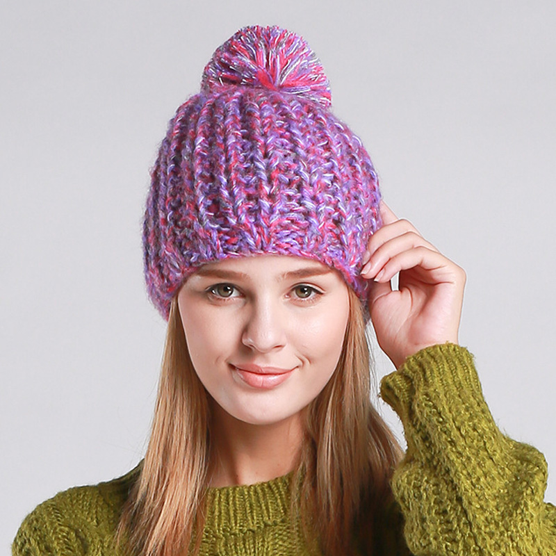 2016 Women Winter Cap Colorful Beanie Hats With Ribbon Ball Z-3082()
