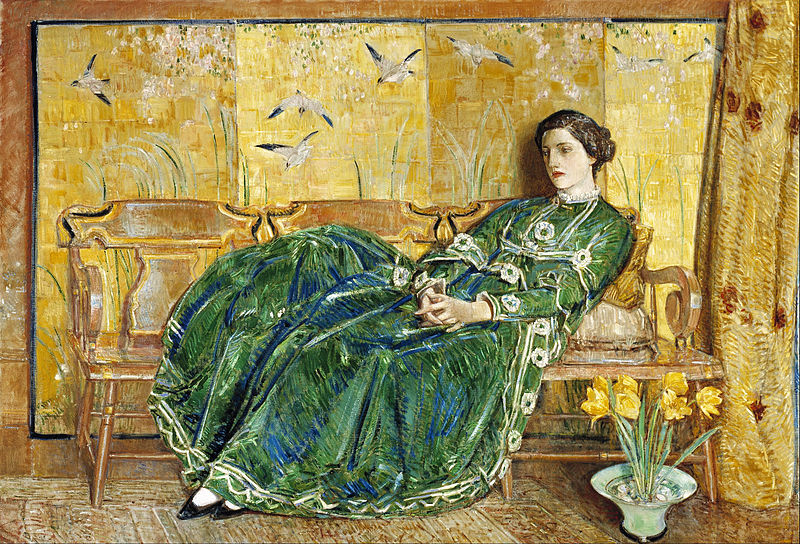Canvas Art Prints Fabric Wall Decor Giclee Oil Painting Childe Hassam - April (the Green Gown)(China (Mainland))
