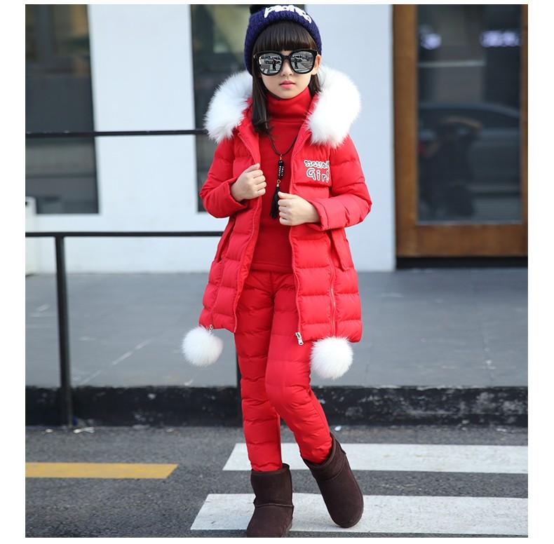 Скидки на 4-11 Т дети девушки зимней одежды наборы 3 шт. верхняя одежда с капюшоном жилет + с длинным рукавом + брюки девушка зимняя одежда костюм