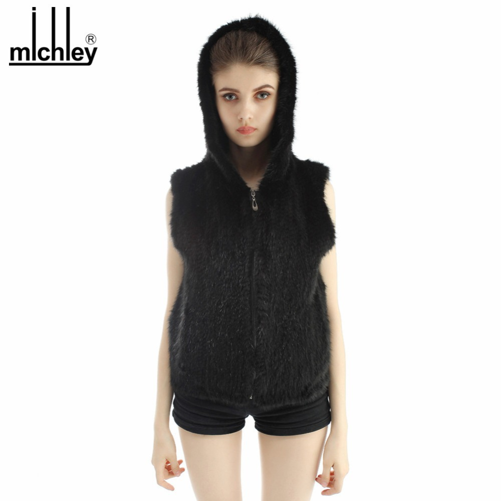 MICHLEY 2015 New Arrival Women Hooded Waistcoat Jacket European Style Winter Fox Fur Vest QFVM0004(China (Mainland))