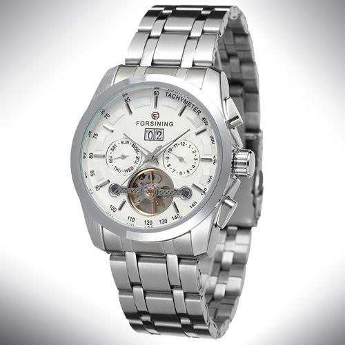 Luxury Men Full Stainless Steel Automatic Watch Tourbillon Business Mechanical Self Wind Watch Wristwatches<br><br>Aliexpress
