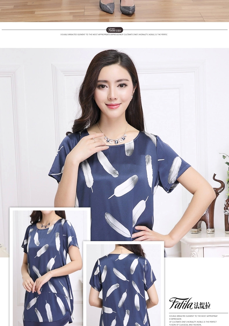 summer style new 2015 leisure round collar shirt long temperament printed silk t-shirts short sleeves - MOON ZONE store
